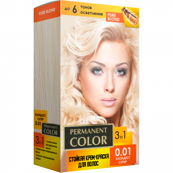 """Cream-color for hair with an oxidizing agent """"Permanent Color"""" tone """"Blondest super"""" No. 0.01"""