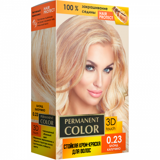 """Cream-color for hair with an oxidizing agent """"Permanent Color"""" tone """"Blonde cappuccino"""" No. 0.23"""