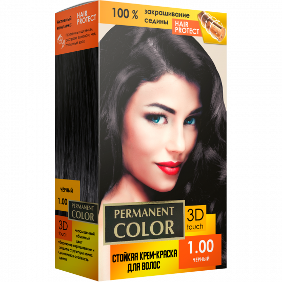 """Cream-color for hair with an oxidizing agent """"Permanent Color"""" tone """"Black"""" No. 1.00"""