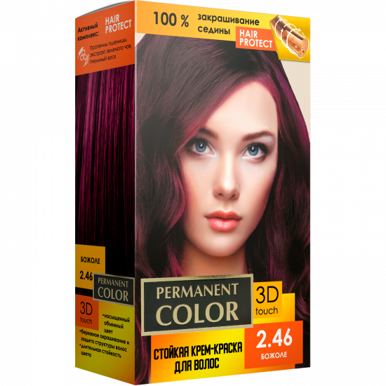 """Cream-color for hair with an oxidizing agent """"Permanent Color"""" tone """"Beaujolais"""" No. 2.46"""