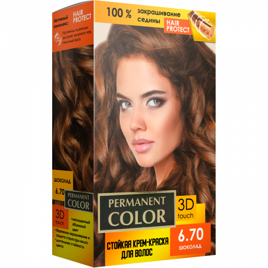 """Cream-color for hair with an oxidizing agent """"Permanent Color"""" tone """"Chocolate"""" No. 6.70"""
