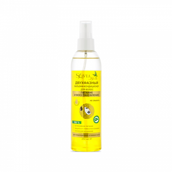 """Two-phase balm-conditioner """"SLAVIA Lege Artis"""" nutrition and restoration for damaged, dry and brittle hair, 250 ml"""