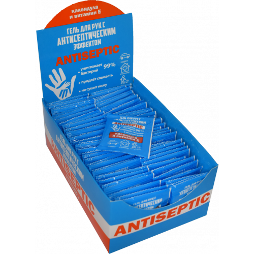 Antiseptic hand gel with calendula extract and vitamin E, sachet 3 ml, 70 pcs. in a pack