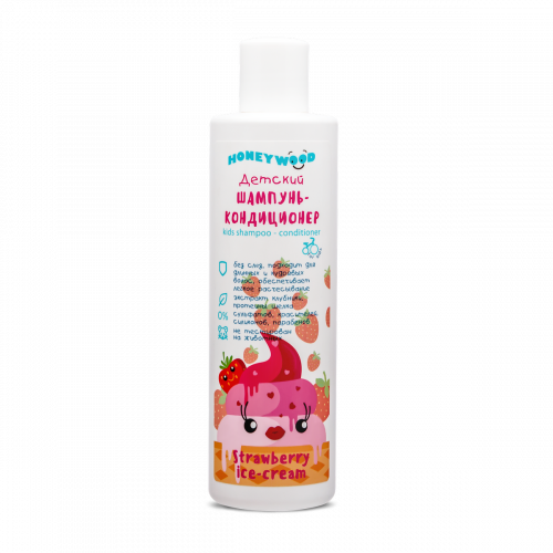 Baby shampoo-conditioner Strawberry ice-cream, Honeywood, 250 ml