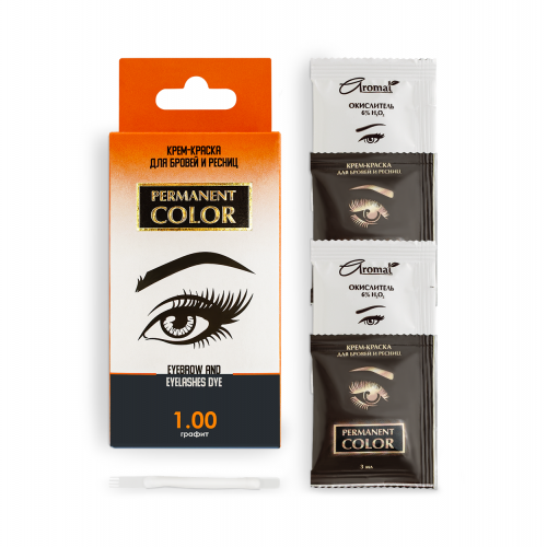 "Cream-paint for eyebrows and eyelashes ""Permanent Color"" with an oxidizer, tone graphite (1.00)"